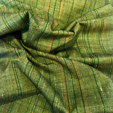 Green Tea Stripe Tsumugi Vintage Japanese Kimono Silk Quilt Cushion Fabric 50""
