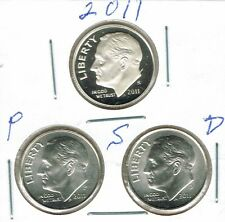 2011 Three Uncirculated Dime Types The Cameo San Francisco is From a Proof Set!