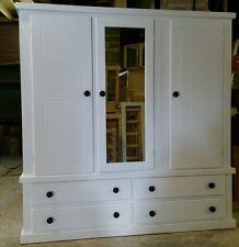 Handmade furniture WHITE  3 DOORS ,4 Drawers  Mirrored WARDROBE  (NO FLATPACK)
