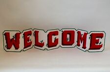 Vintage Completed Tapestry Needlepoint Welcome Sign Wall Hanging Or Freestanding
