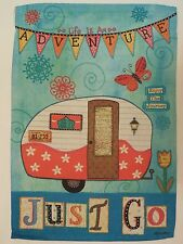 """""""Life is an ADVENTURE.. JUST GO"""" Camper, Maps, Vacation, Travel HOUSE flag"""