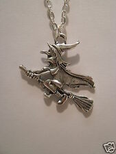 "Large Flying Witch Pendant With 18"" Silver Plated Necklace"