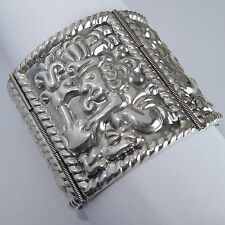 WIDE VINTAGE MEXICO STERLING SILVER REPOUSSE MAYAN GOD OF WAR BRACELET