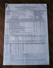 RARE Call Sheet CHARLIE & CHOCOLATE FACTORY Movie Production Paperwork Notes -UK