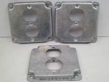 """(LOT OF 3!) 4"""" SQUARE INDUSTRIAL DUPLEX ELECTRICAL BOX OUTLET  COVER 2 HOLE"""