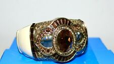 NIB $190 HEIDI DAUS *Signature Accent* Topaz Crystal Bangle Bracelet Enamel  S/M