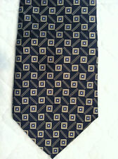 Today's Man 100% Silk Tie~Made in USA~Metallic Colors on Navy~Geometric~(#242)