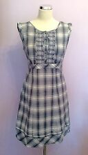 MONSOON BLUE & WHITE CHECK COTTON  DRESS SIZE 12