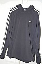Adidas Three Stripes Climawarm Fleece Black Pullover Hoodie Men's Large