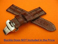 24mm PAM HORNBACK CROC Deployment Leather Strap Brown Watch Band 44mm Case