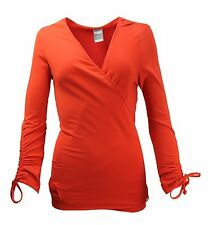 WOMEN`S NEW NIKE DRI-FIT YOGA COVER UP WRAP TOP UK 16 / XL US 12/EU 42 SHIRT RED