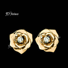 18K YELLOW GOLD GF STUD SWAROVSKI CRYSTAL ROSE FLOWER EARRINGS