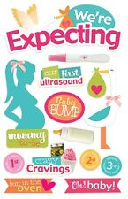 We're Expecting Ultrasound Cravings Stork Baby Bump Paper House 3D Stickers