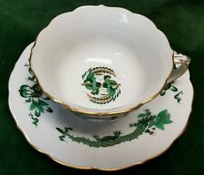Meissen GREEN DRAGON Cup and Saucer set with Gold Trim - Crossed Swords 1st