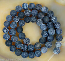 8mm Cracked Frosted Black Color Agate Round Shape DIY Loose Beads Strand 15""
