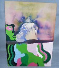 Pop Art Mischtechnik - Aquarell und Öl - Frau und Mann - Galeriekauf um 1970
