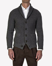 $2585 BRUNELLO CUCINELLI Gray Thick Rib 12 Ply Cashmere Cardigan Sweater 58 EU