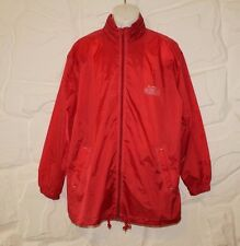 Red Waterproof Zip Outwear fold-away hood  Camping Picnic Raincoat Coat Size M