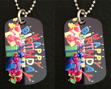 """Happy Birthday 2-Sided Photo Dog Tag Necklace / Key chain.. FREE SHIPPING!!!!"