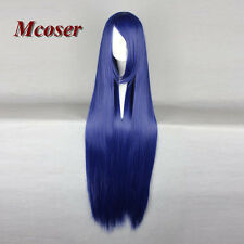 Fashion Women's 100CM Long Straight Synthetic Hair Lolita Dark Blue Cosplay Wig