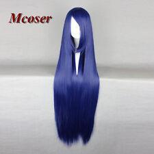 Fashion Women's 100CM Long Straight Synthetic Hair Lolita Dark Blue Cosplay Wig