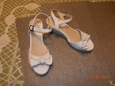 """Nine West - Sz 5 Med - Pearl White Ankle Strap ESPADRILLE 2"""" WEDGE SANDALS - NEW"""