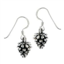 3D PINE CONE Christmas tree solid 925 Earrings Hook dangle Sterling Silver