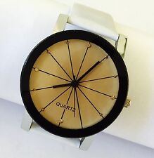NEW QUARTZ DESIGN Round Face Watch With WHITE Leather Strap UK SELLER