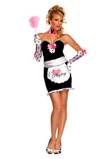 Lady PLAYBOY MANSION MAID Costume Dress Gloves Choker Apron Adult Medium 6 8 10