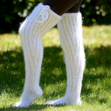 Hand Knitted mohair socks fuzzy stockings WHITE Legwarmers by EXTRAVAGANTZA