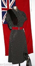 Vintage 40's Style Brown Polka Dot Dolly Tea Dress size 16 EU 44 Land Girl WW2