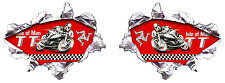 2 X TT ISLE OF MAN METAL DECHIRE BIKER 100X75mm AUTOCOLLANT STICKER MOTO (IA065)
