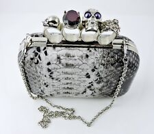 Knuckle Hard Case Clutch Bag - Snake Skin & Skulls