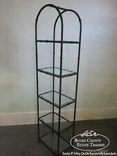 Quality Faux Bamboo Iron Etagere with Glass Shelves