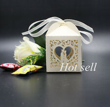 50pcs Bride Groom Bridal Wedding Party Favor Gift Ribbons Candy Boxes Bags