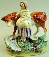 LOVELY VICTORIAN ANTIQUE STAFFORDSHIRE POTTERY MILK MAID & COW FIGURE GROUP