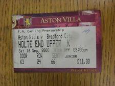 Billete De 16/09/2000: Aston Villa V Bradford City (plegado, marcado). este artículo tiene B