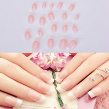 NEW 24pcs Manicure White Long French Style False Tips Fake Nails Stickers
