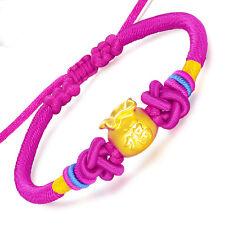 NEW Pure 24K Yellow Gold Bracelet 3D Bless FU Lucky Bag Women  Knitted  Bracelet