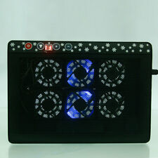 "12""-17"" Laptop LED Light Built-In 2 USB 6 Fans Cooling Cooler Pad Stand Black"