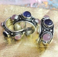 Woman Pretty Ring Shining Pink Purple Crystal Old Tibet Silver Adjustable
