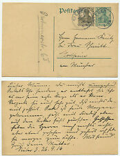 34137 - Ganzsache P 96 - ZuF - Postkarte - Sieber 26.9.1916 nach Northeim