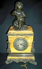 C.1830 FRENCH  MARBLE CLOCK & BRONZE FIGURAL CLOCK