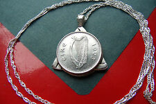 "1993 IRISH Celtic Coin Triquetra Pendant on a 30"" 925 Silver Twist Wavy Chain"