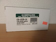 CHEMGLASS Glass Straight Inlet Flow Control Adapter PTFE Stopcock 14/20 Joint