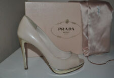 NIB $720+ PRADA Nude Leather Peep Toe Platform Pump Heel Shoes Sz 35.5 / 5.5