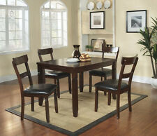 NEW OKLAHOMA TRANSITIONAL ESPRESSO FINISH WOOD DINING TABLE SET w/ CHAIRS
