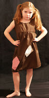 Girls BROWN Victorian-Edwardian-Annie-Orphan-Workhouse Fancy Dress Costume