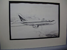 Delta Airlines Boeing 767 Jet From Delta HDQTERS artist illustrated