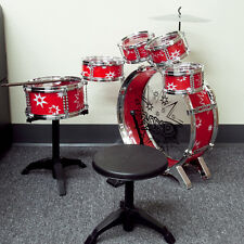 Toys Kids Red Drum Boy Girl Music 11 piece Drum Set with Stool Children Drum Set